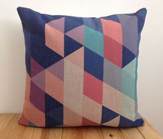 Decorative Pillow Cover Blue Green orange Purle by xinghuajiang