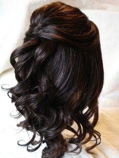 Half Up Half Down Dark Wedding Hairstyles