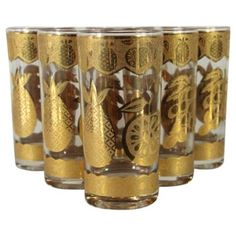Check out this item at One Kings Lane! Culver Gold Fruit Glasses, S/6