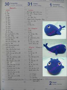 amigurumi balina yapılışıi,amigurumi free pattern,amigurumi balina tarifi,tığ işi oyuncak balina yapılıı