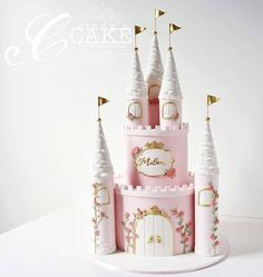 """373 Likes, 20 Comments - Cindy Smith (@cindyscakecreations) on Instagram: """"Milani's princess castle cake for her first birthday! The brief was pink, gold and floral Thanks…"""""""
