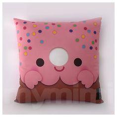 """12 x 12"""" Pink Donut Pillow, Stuffed Toy, Kids Room Decor, Children's Pillow, Kids Throw Pillow, Food Pillow, Kawaii Pillow"""