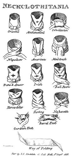 Cravat ties. Please note, most examples I have found where people attempt to ties these today come out way messier than what any regency gentleman would have accepted.