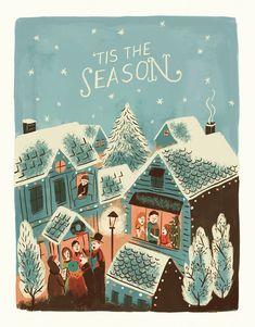 """tis the season village"" holiday card Christmas Poster, Retro Christmas, Vintage Christmas Cards, Christmas Love, Homemade Christmas, Xmas Cards, Holiday Cards, Art Deco Cards, Pokemon"