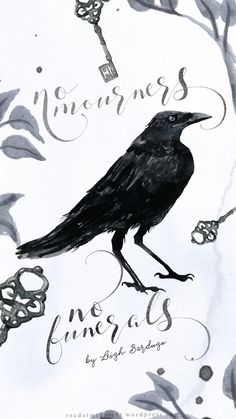 """""""No mourners, no funerals."""" Six of Crows by Leigh Bardugo (quote designed by the wonderful Aentee!) Click to read the post and download the iPhone wallpaper!"""