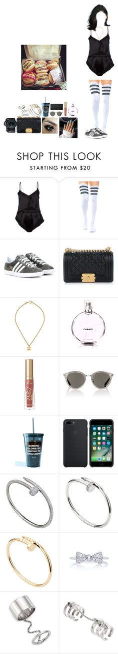 """""""IN AND OUT"""" by mija-lee ❤ liked on Polyvore featuring Marika Vera, adidas, Chanel, Too Faced Cosmetics, Oliver Peoples, Jac Vanek, Cartier, Elizabeth and James, Edge of Ember and Eos"""