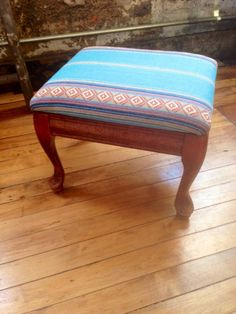 Vintage Upholstered Carved Wooden Footstool with Southwestern Fabric Wood Foot Stool Foot Rest Ottoman Saddle Stripe on Etsy, $64.00