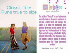 LLR Classic Tee Description #lularoe #classictee #livelovelularoeboutique