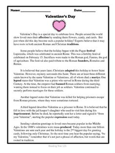An informative article about the origins of Valentine's Day along with comprehension activities including questions and a vocabulary matching activity.
