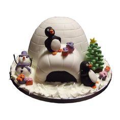 <b>Igloo Xmas Cake</b><br />Cute Igloo Xmas Cake with fun penguins & snowman