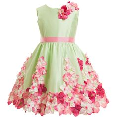 Green Floral Dress with Belt, Lesy, Girl