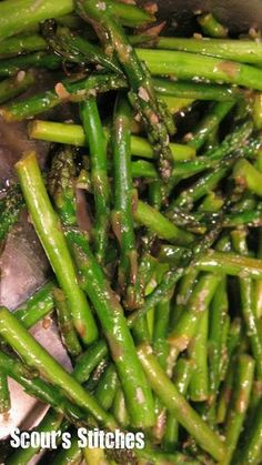 Fresh Asparagus Recipe  (I sautéed using organic bacon grease from bacon and no soy sauce).