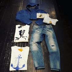Men stuff  New label #fiver from Italy #denim #meltinpot #raf #destroyed #repared #jacket #revolution #rvlt #blue #navy #sailor #wave #sunglasses