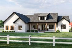 A covered front porch and board and batten siding give this modern farmhouse plan great curb appeal. Inside, welcoming views extend into the great room with cathedral ceilings and exposed beams. Future House, Modern Farmhouse Exterior, Farmhouse Home Plans, Farmhouse Homes, Farmhouse Decor, Rustic Decor, Urban Farmhouse Designs, Farmhouse Bedrooms, Modern Farmhouse Style