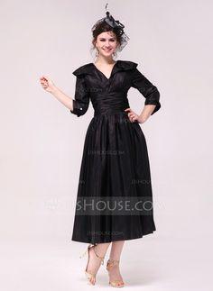 Festliche Kleider - $121.49 - A-Linie/Princess-Linie V-Ausschnitt Tee-Länge Taft Festliche Kleid mit Rüschen (020036602) http://jjshouse.com/de/A-Linie-Princess-Linie-V-Ausschnitt-Tee-Lange-Taft-Festliche-Kleid-Mit-Ruschen-020036602-g36602