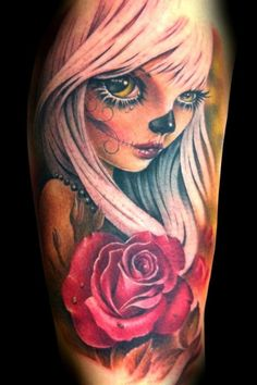 Tattoo New school Day of the Dead pinup