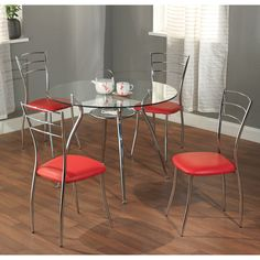 Simple Living Mabel 5 Piece Metal Tempered Glass Dining Set Overstock