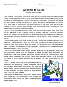 Welcome to Alaska - Reading Comprehension Worksheet. This reading comprehension worksheet is for teaching and learning about Reading. Reading Comprehension Worksheets, Reading Fluency, Reading Passages, Reading Skills, Comprehension Strategies, Reading Response, Reading Tutoring, Teaching Reading, Learning