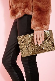 Abstract Sequin Beaded Clutch