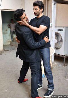Celebrity bromance is at its peak as Arjun Kapoor and Aditya Roy Kapur have some fun! via Voompla.com
