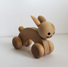 Natural Wood Rabbit on Wheels at www.perfectlysmitten.com