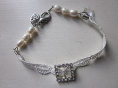 Wedding Bracelet Swarovski Crystal Beads Rhinestone by JoieLaVie, $45.00
