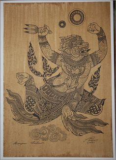 Thai traditional art of Hanuman by silkscreen printing on sepia paper