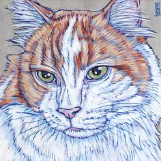 """Custom Pet Portrait Painting Canvas in Acrylic 6""""x6""""x.75"""" of One Dog, Cat, Other. Archie the Orange Tabby Cat sample from Pet Portraits by Bethany on Etsy and PetPortraitsbyBethany.com"""