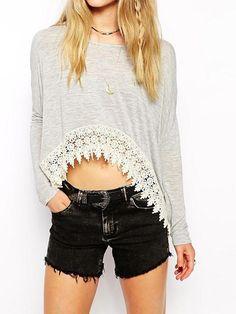 Light Gray Long Sleeve T-shirt With Crochet Lace Hem | Choies