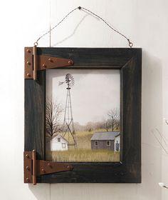 Barn Door Wall Art, use some old pallet wood to make frame, find some old hinges & wah-la!