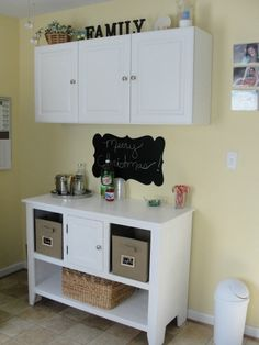 This is in our mudroom which also includes our laundry room. We use the bottom cabinet as a folding station during the week and as a bar/serving area when entertaining on weekends and holidays. Laundry Station, Mudroom, Laundry Room, Cabinets, Craft Ideas, Entertaining, Holidays, Bar, Decorating