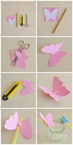 Here is my new photo tutorial for you, easy and quick z-Hier für Sie mein neues Foto-Tutorial, einfach und schnell zu erstellen! U … – derBilder Here is my new photo tutorial, easy and quick to create! Kids Crafts, Easter Crafts, Diy And Crafts, Butterfly Crafts, Flower Crafts, Butterfly Games, Butterfly Decorations, Paper Butterflies, Paper Flowers