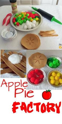 preschool Here is another apple activity you need to add to your list of must do's! I even made a few pies in the Imaginative Play Apple Pie Factory ! Preschool Apple Theme, Preschool Classroom, In Kindergarten, Preschool Crafts, Apple Activities Kindergarten, Preschool Apples, September Preschool Themes, September Themes, Dramatic Play Area