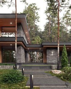 Вилла в сосновом лесу Modern Villa Design, Modern Exterior House Designs, Dream House Exterior, Exterior Design, Modern House Facades, Modern Architecture House, Architecture Design, Home Building Design, Building A House