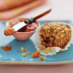 These muffins are loaded with many of the components of a well-rounded breakfast: fiber and whole grains from oats and bran cereal, good fats from pecans and canola oil, dairy from nonfat buttermilk, and fruit from dried peaches. Smart Snacks, Healthy Snacks, Healthy Eating, Healthy Kids, Muffin Recipes, Snack Recipes, Breakfast Recipes, Fruit Recipes, Clean Recipes