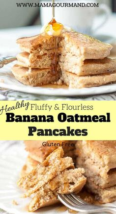 Fluffy Flourless Banana Oatmeal Pancakes mix up quickly in a blender or bowl, have a tender, light oat texture, and are naturally gluten free. This recipe uses no flour and only a few more ingredients than 3 ingredient pancakes. They are just as easy to throw together, but have the look and taste of REAL pancakes. #healthy #easy #blender #glutenfree https://www.mamagourmand.com via @mamagourmand