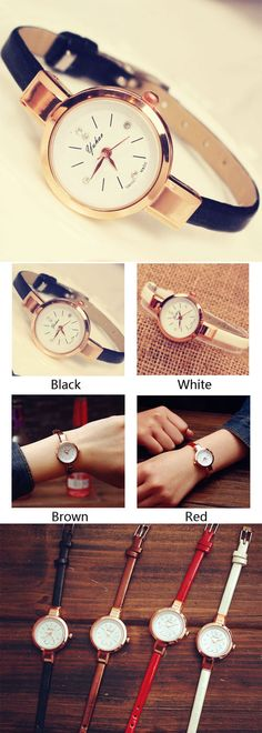 Elegant Ladies Thin Strap Diamond Rose Gold Alloy Quartz Wrist Watch is a perfect gift for her~ #watch #lady #elegant