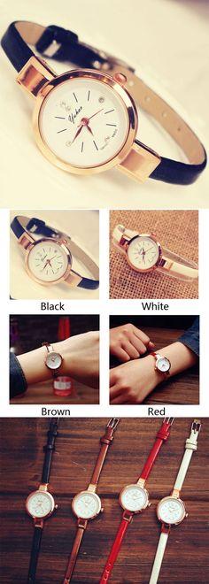 Elegant Ladies Thin Strap Diamond Rose Gold Alloy Quartz Wrist Watch is a perfect gift for her~ #watch #lady #elegant