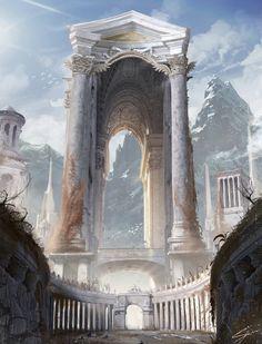 Mountain Temple, Gianni Manuali on ArtStation at https://www.artstation.com/artwork/2QWBg
