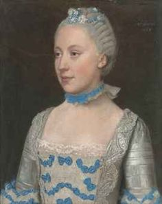 """Jean-Etienne Liotard (Geneva 1702-1789)  Portrait of Madame Saint Pol, half-length, in a light blue gown trimmed with blue silk bows and white lace  signed and dated 'Par Liotard 1757'  pastel on vellum ""  Pretty neck-piece!"