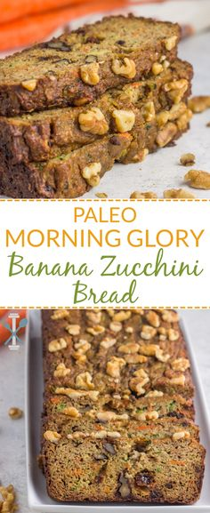 Paleo Morning Glory Banana Zucchini Bread Paleo Morning Glory Banana Zucchini Bread – grain free, naturally sweetened, and packed with tons of hidden veggies. via Chrissa – Physical Kitchness Paleo Dessert, Clean Eating Snacks, Healthy Snacks, Paleo Treats, Healthy Sweets, Healthy Eating, Paleo Zucchini Bread, Bread Pudding With Apples, Hidden Veggies