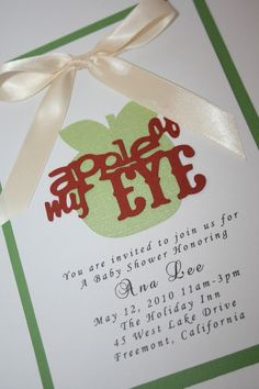Baby Shower Invitation  Apple of my Eye with by EmbellishedPaper, $2.25