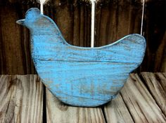 Primitive Wooden Chicken Shelf Sitters, Rustic Country Decor