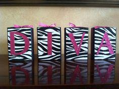 Items similar to Wood Diva Blocks - Glitter Zebra and Pink decor for a Special Princess, Teenager, or Diva on Etsy Diva Bedroom, Bedroom Ideas, Teen Bedroom, Bedroom Decor, Diva Party Decorations, Zebra Print Bedroom, Monster High Room, Zebra Craft, Photo Room