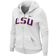 Nike LSU Tigers Ladies White University Classic Full Zip Hoodie Sweatshirt -