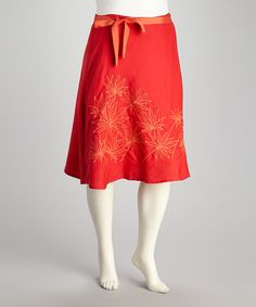 Look what I found on #zulily! Poppy & Gold Embroidered Plus-Size Skirt by Joy Mark #zulilyfinds