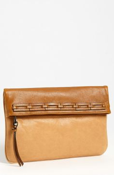Joelle Hawkens by Treesje Solstice Cosmic Leather Foldover Clutch Cognac Camel | Handbag and Bag