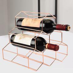 Wine Bottle Holder Rack Storage Stand Home Kitchen Bar Display Shelf Rose Gold Wine Rack Bar, Wood Wine Racks, Wine Glass Holder, Wine Bottle Opener, Wine Bottle Holders, Bottle Stoppers, Wine Bottles, Bar Displays, Display Shelves