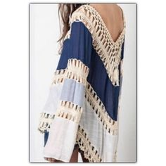SALE Boho Multicolored Lace Crochet Kimono Boho Multicolored V-Neck Lace Crochet Kimono Blouse!! Hot Trendy Look! Color varies--See Second pic for actual color of this listing!! Tops