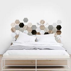 Vinyl decor of wood and ceramic hexagonal tiles Bedroom Bed Design, Home Decor Bedroom, Headboard Decor, Headboards For Beds, New Room, Cheap Home Decor, Home Decor Accessories, Home Interior Design, Furniture Design